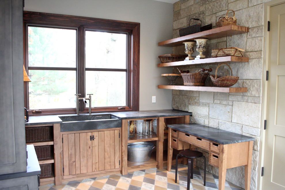 Eclectic Kitchen Wooden Shelves