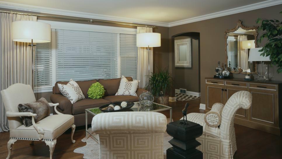 Transitional Brown Living Room