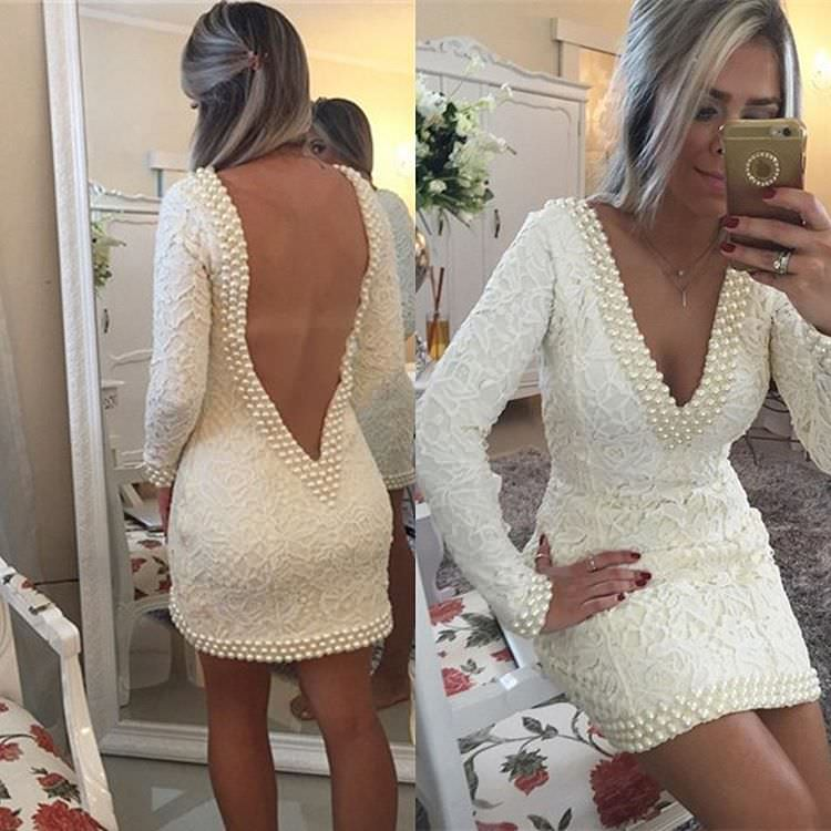 White Colored Pearls Dress