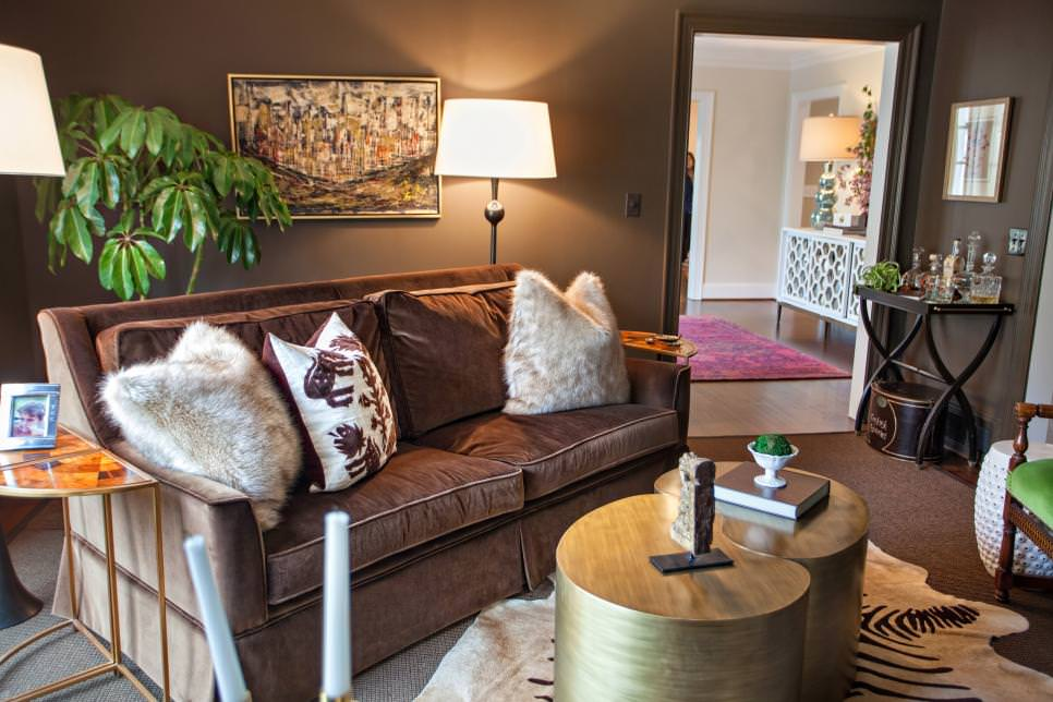 Cozy Brown Den With Plush Sofa and Throw Pillows