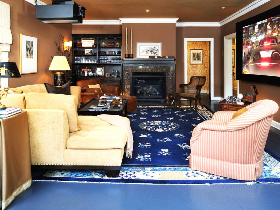 Traditional Brown Living Room With Blue Rug and Fireplace