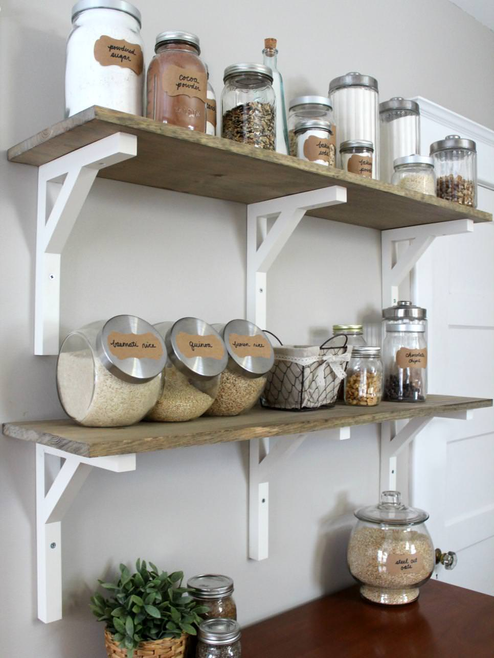 farmhouse style kitchen diy shelves