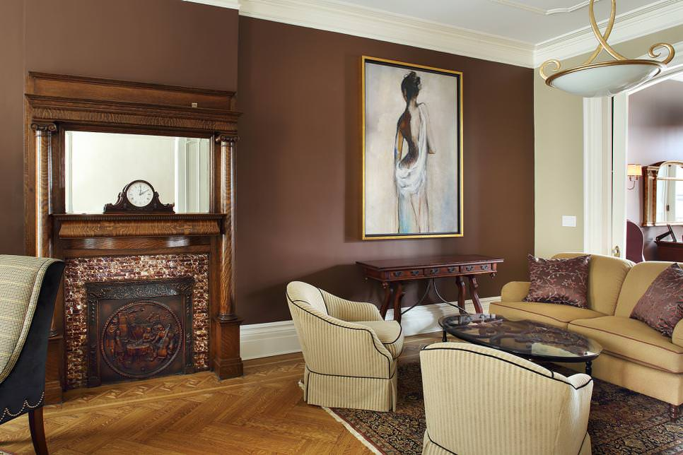 Brown Traditional Living Room With Wood Mantel