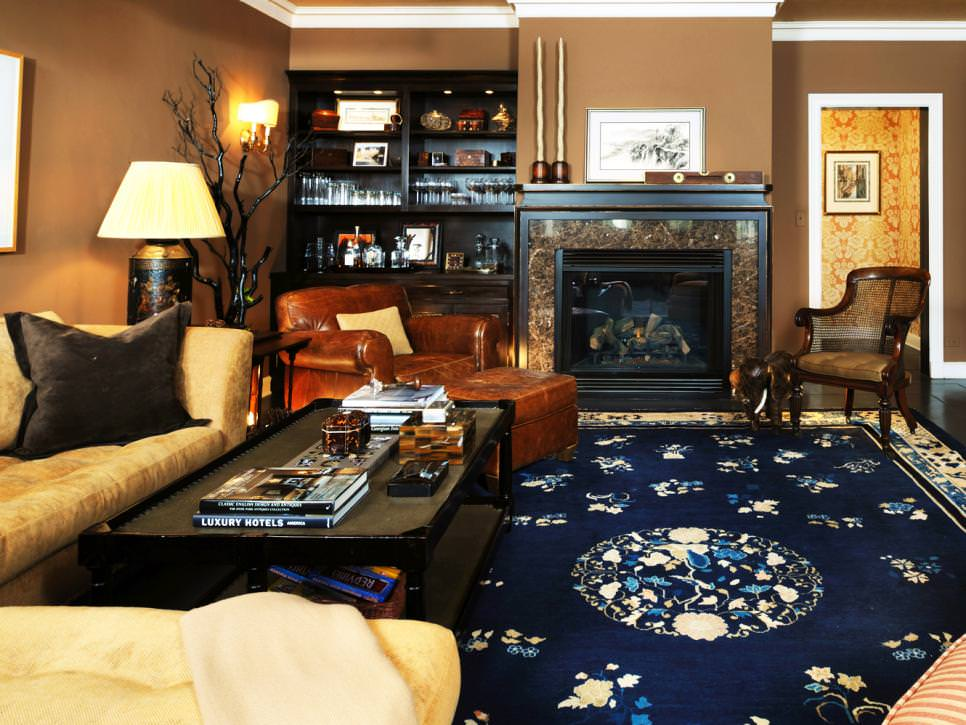 Brown Traditional Living Room with Blue Floral Area Rug