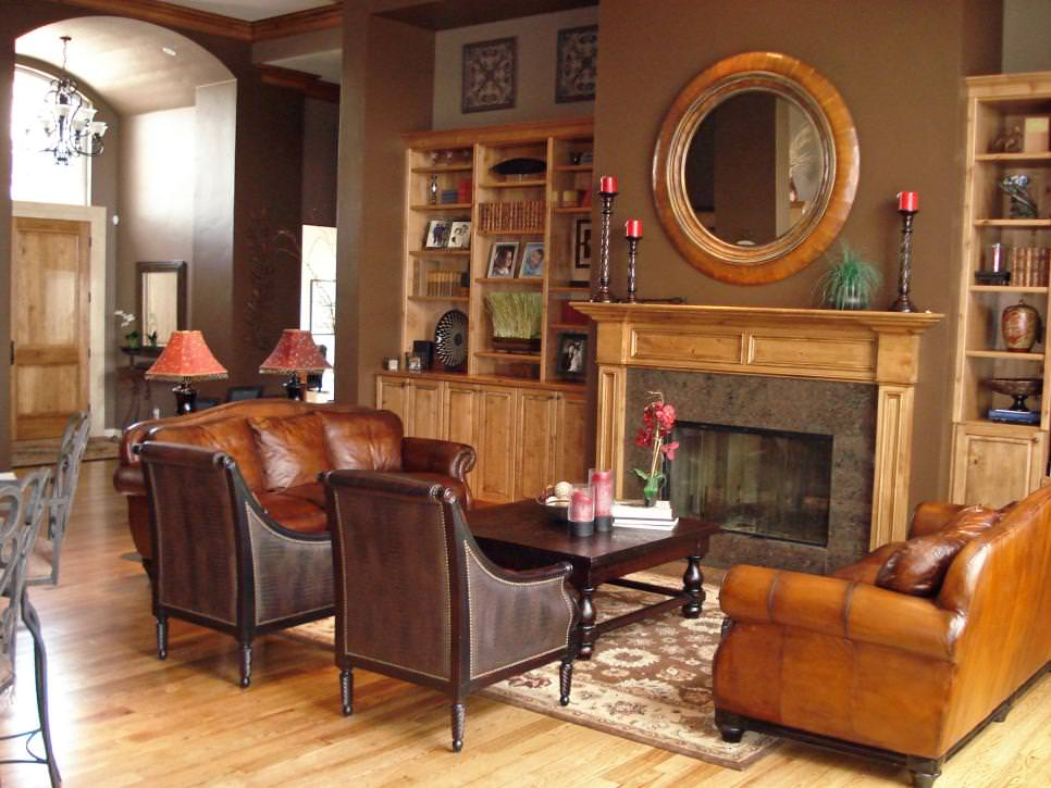 Brown Traditional Living Room With Built-In Bookshelves