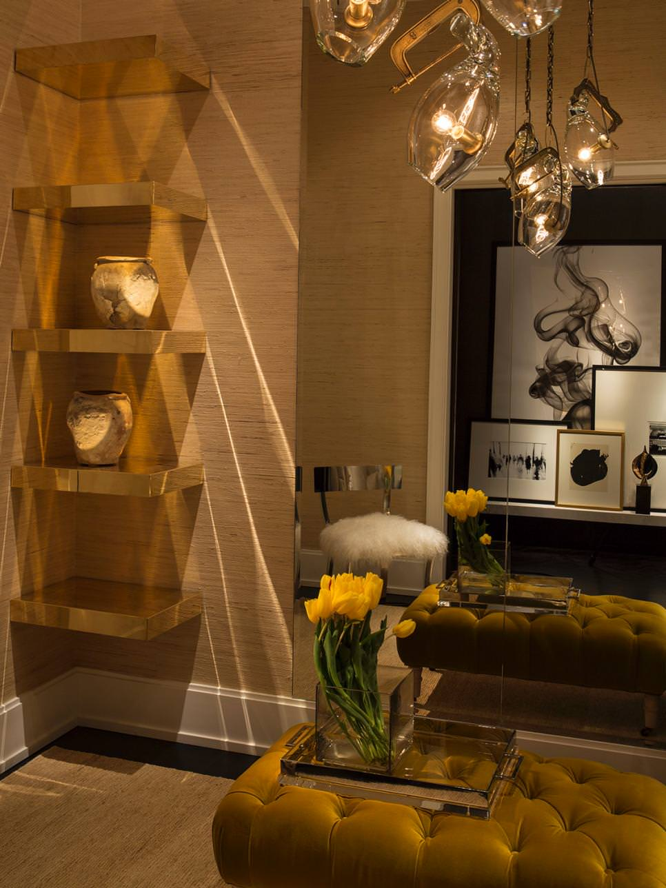 Gold Wooden DIY Shelves