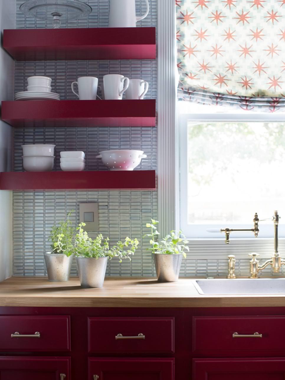 Red DIY Kitchen Shelves