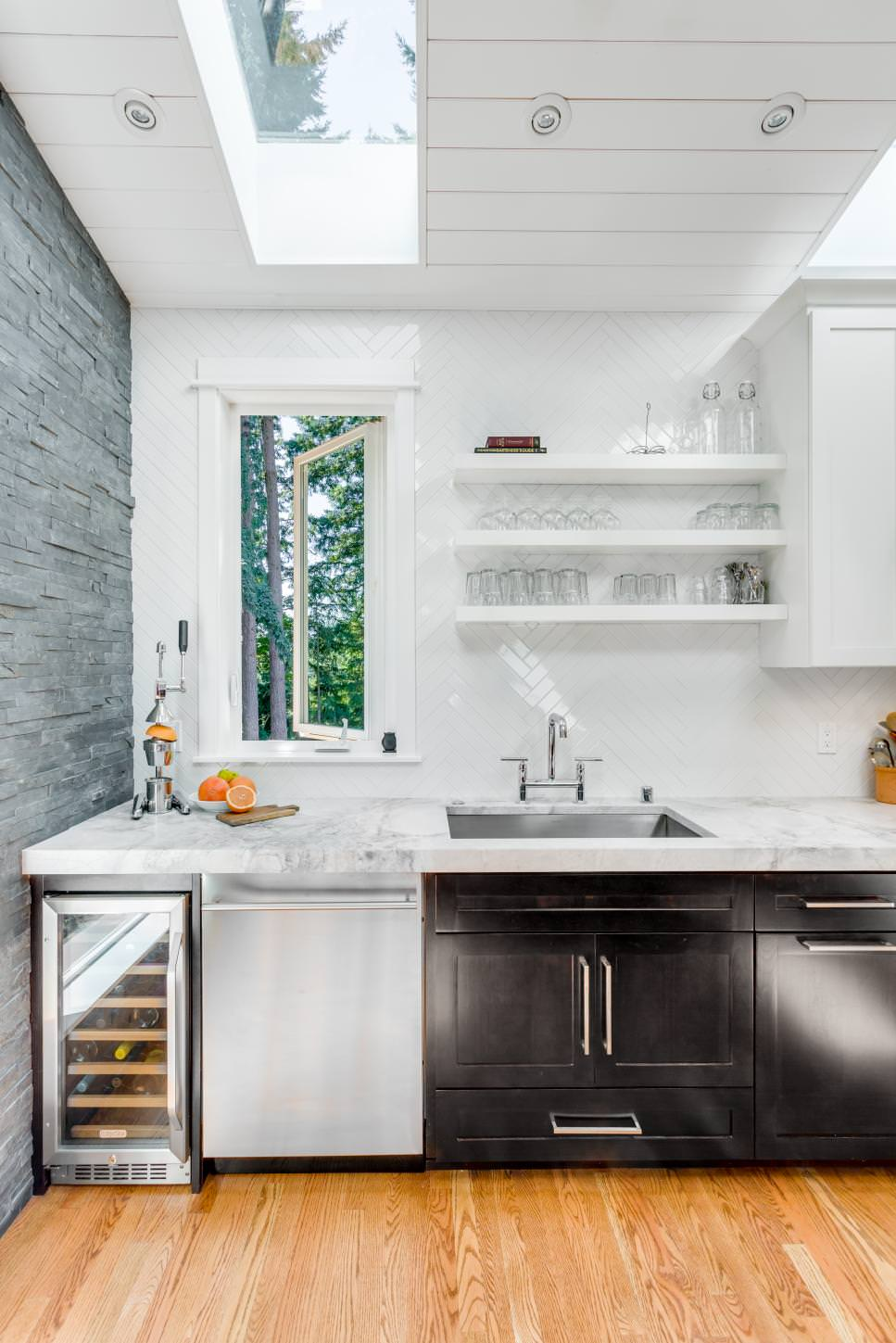 White Contemporary Kitchen With DIY Shelves