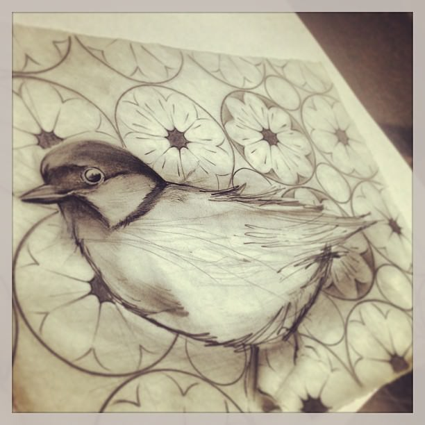 shaded bird drawing