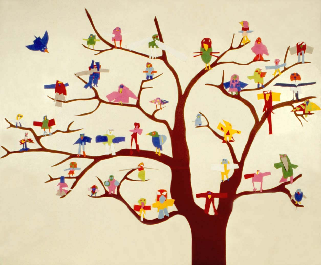 hand drawn tree and bird drawings
