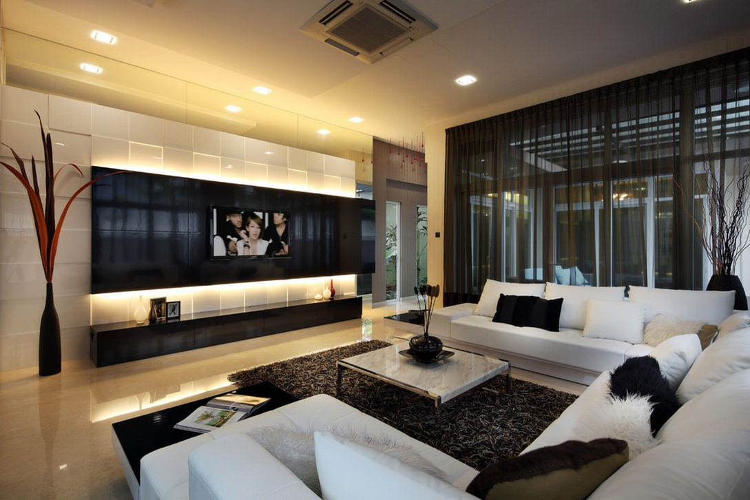 Modern Living Room Design With Tv
