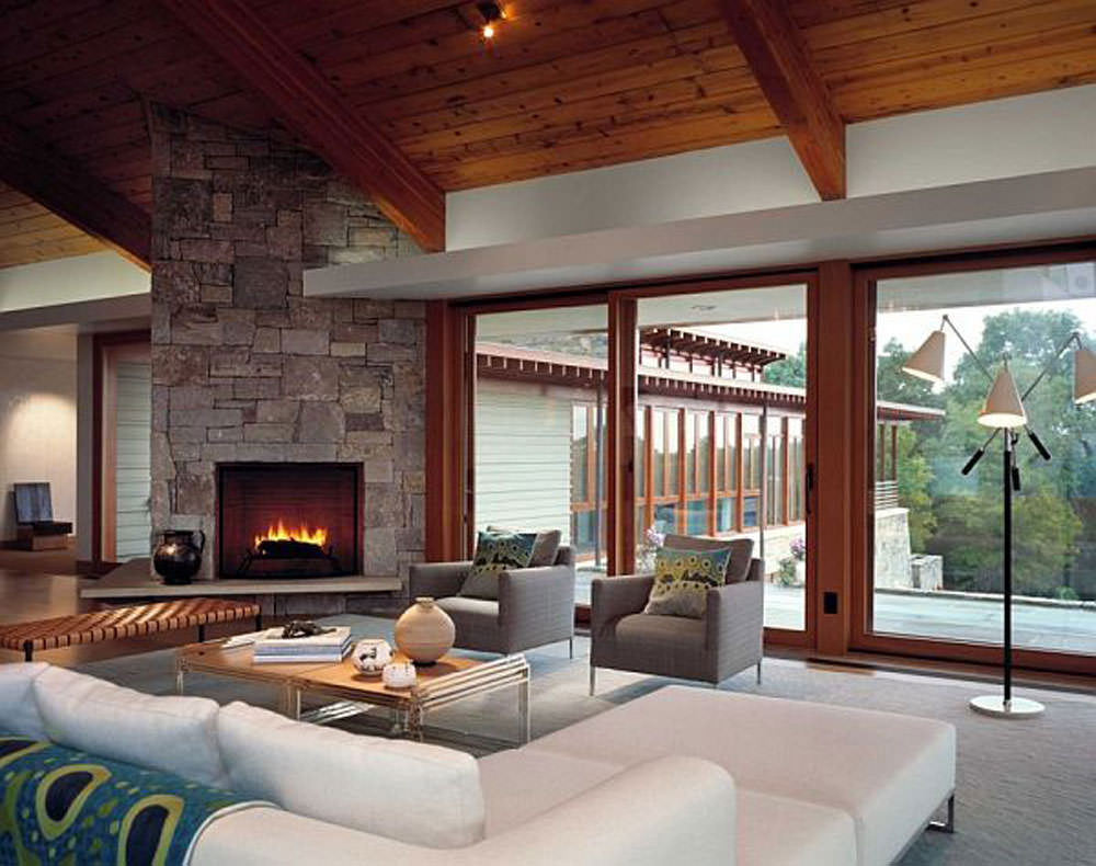 Modern Living Room Design With Fireplace Wall
