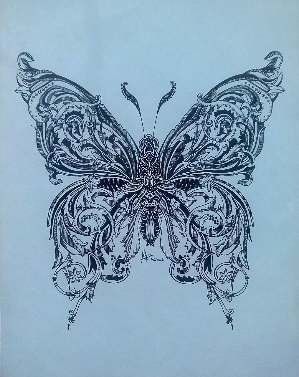 Abstract Butterfly Drawing
