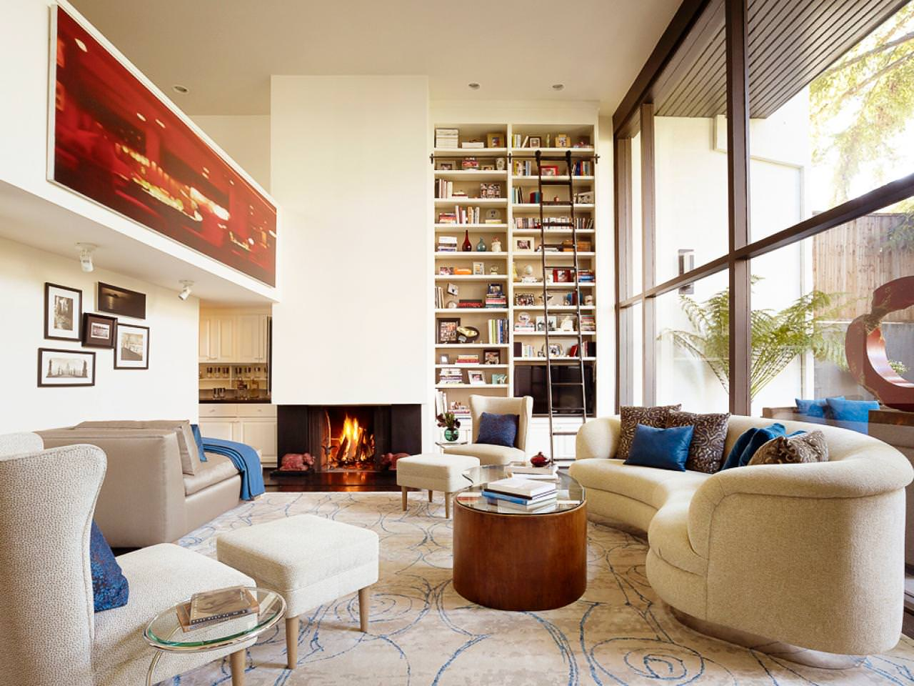 Contemporary Square Living Room