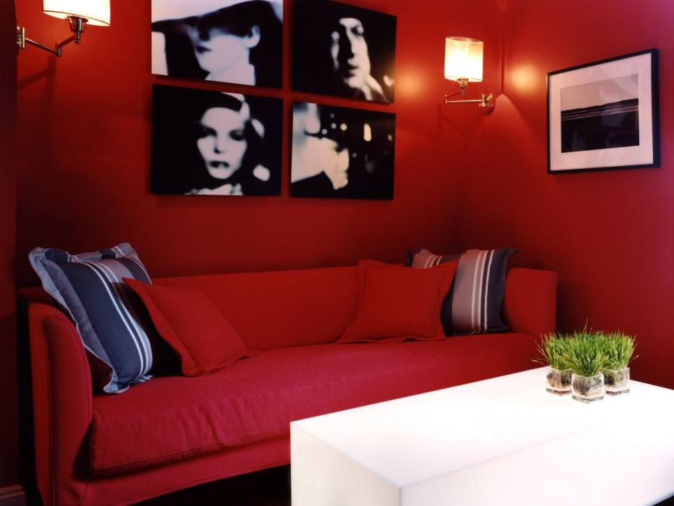 Bold Red Living Room With Black and White Accents
