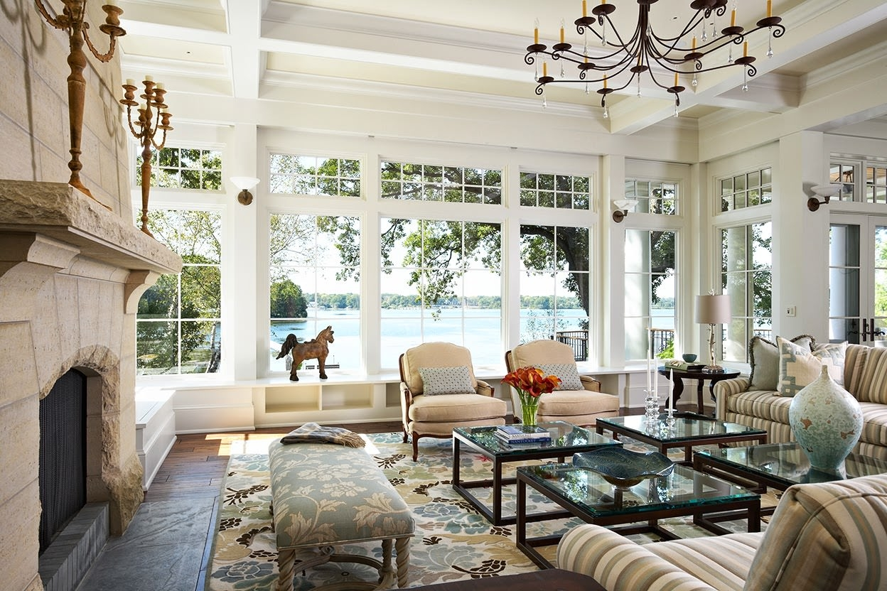 Lake House Living Room Window Design