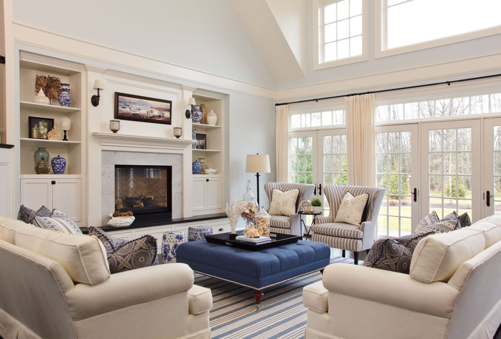 trendy square living room layout