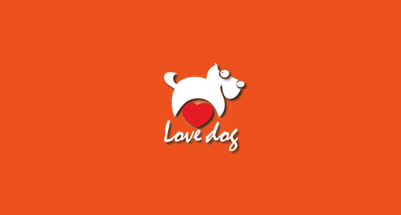 cute love dog logo