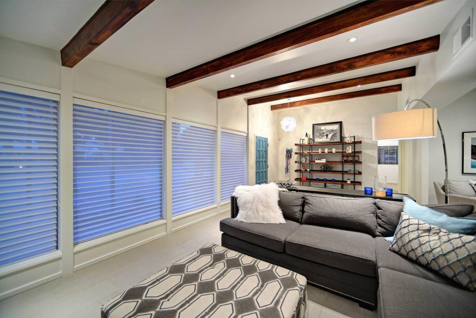 white narrow living room design