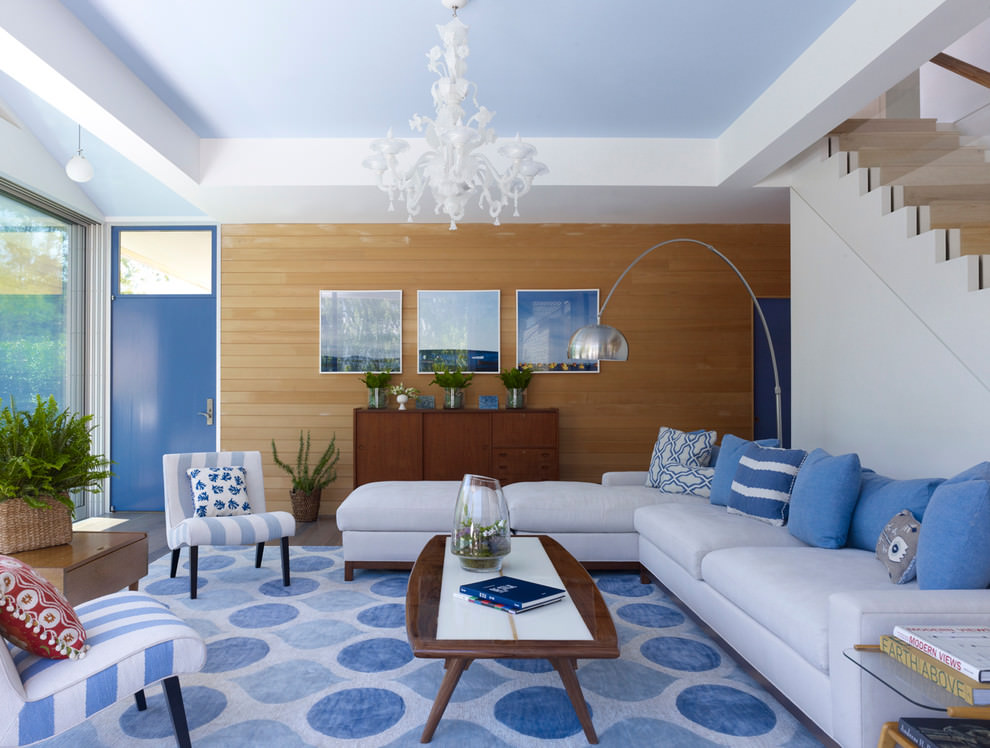 scenic blue and brown living room