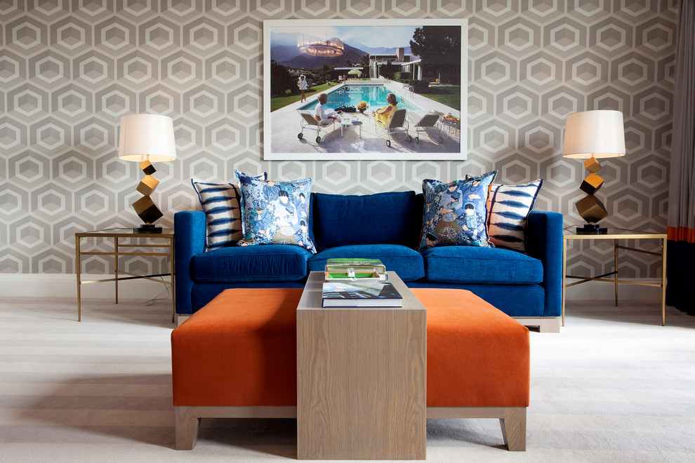 smart blue and brown living room