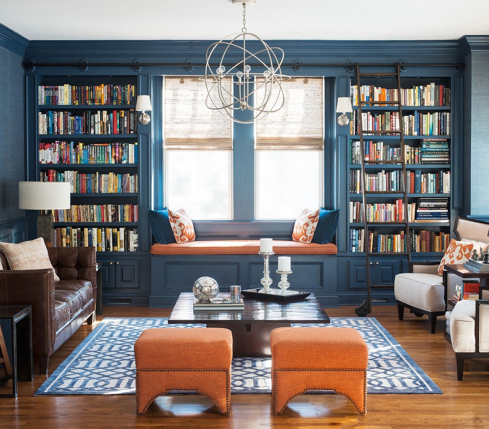 beautiful blue and brown living room
