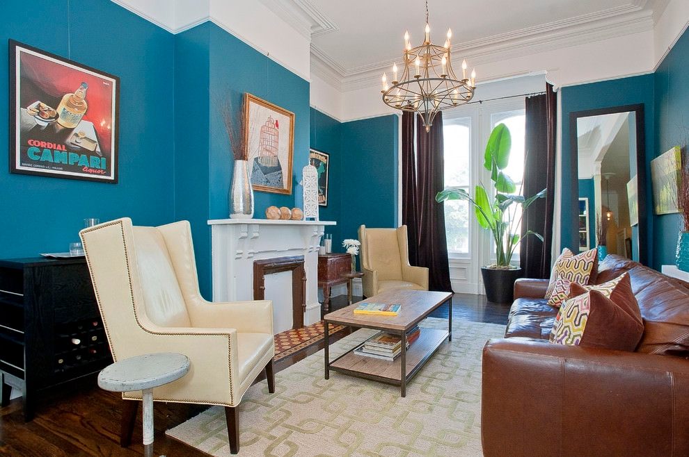 dramatic blue and brown living room