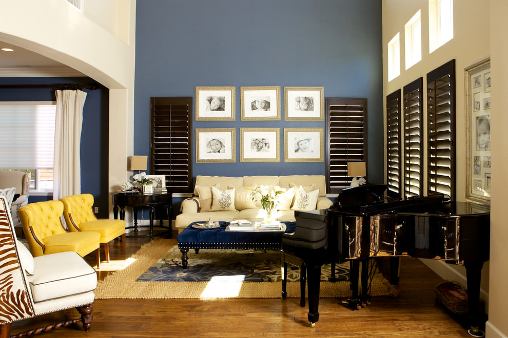 stylish blue and brown living room