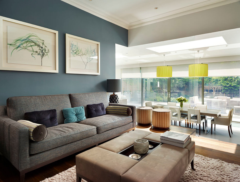 trendy blue and brown living room