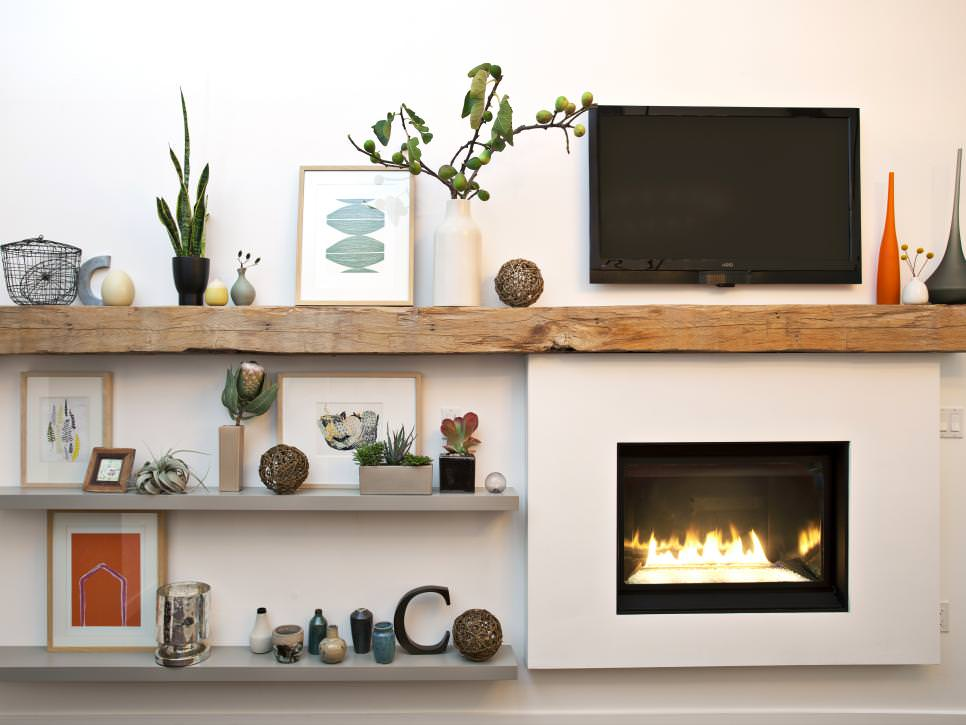 Modern Living Room Fireplace With Rough hewn