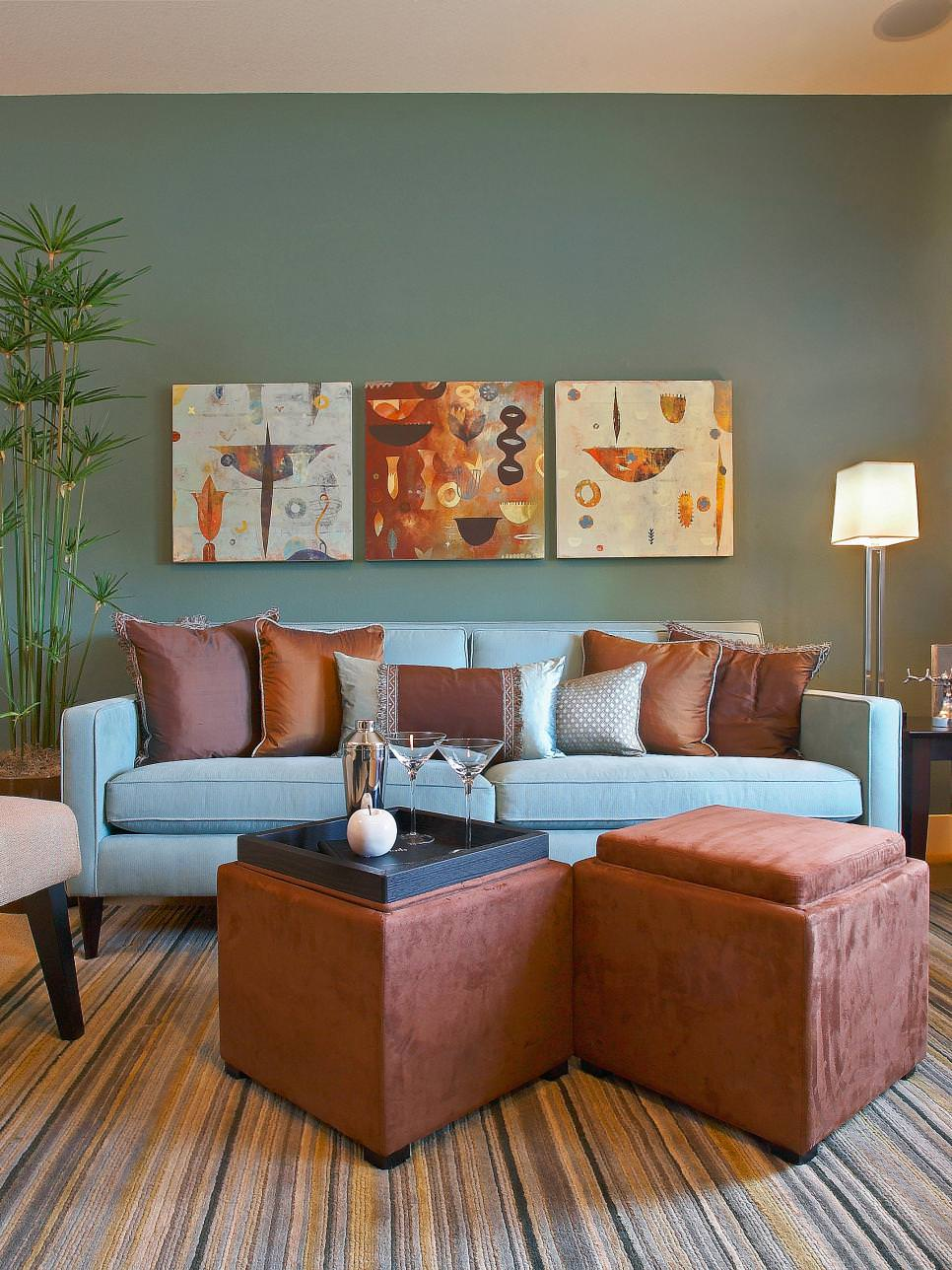 cool blue and brown living room