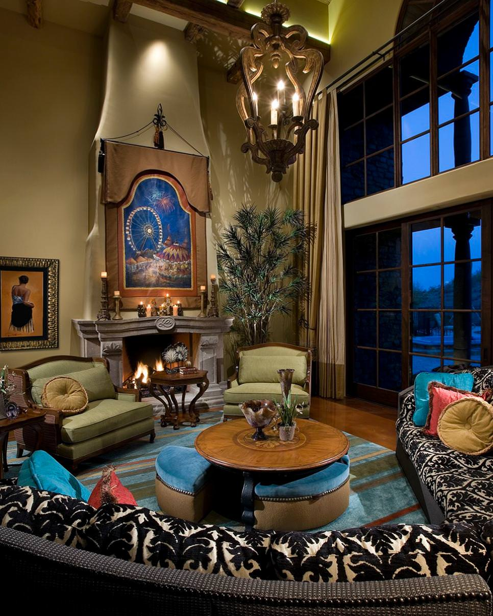 mediterranean blue and brown living room