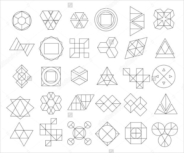 Set of Outline Hipster Logos