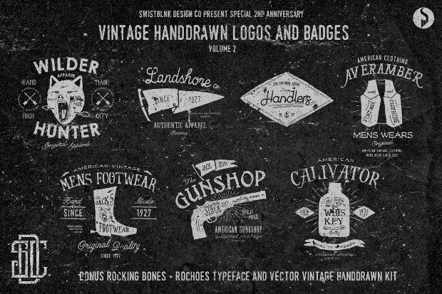 Vintage Hand Drawn Hipster Logo Designs