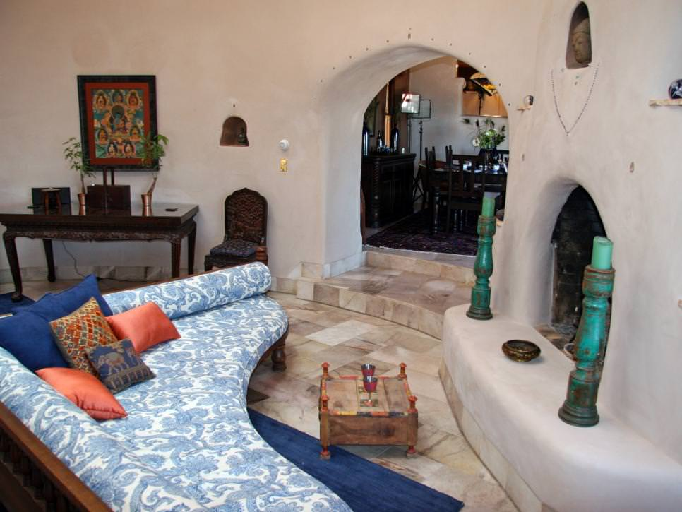 Southwestern Living Room With Fireplace