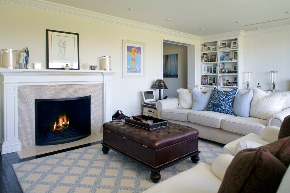 Cozy Neutral Living Room With Fireplace