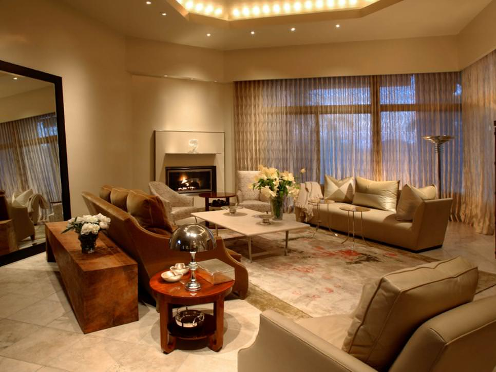 Neutral Contemporary Living Room with Fireplace