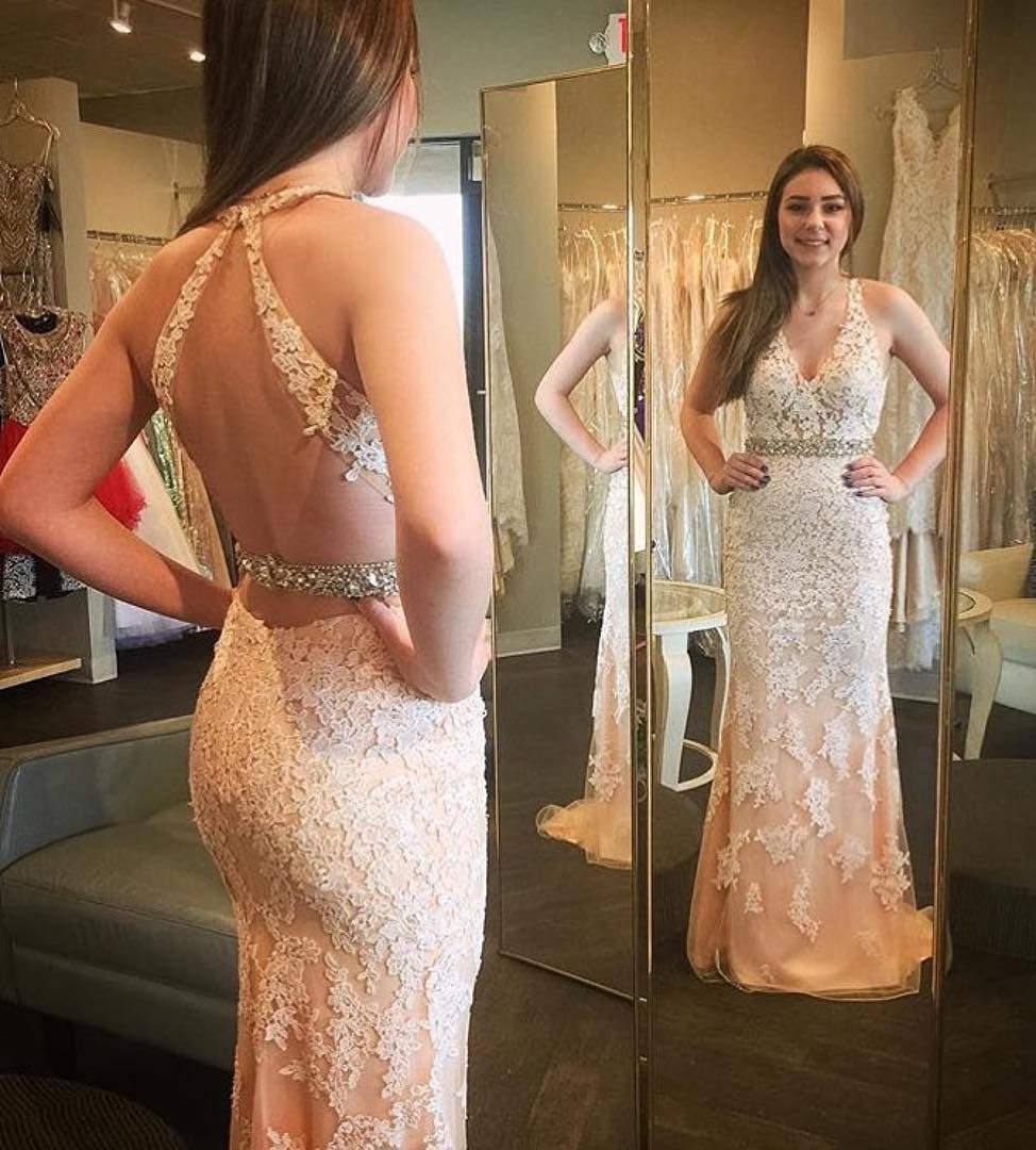 Complete Lace Design Cream Dress