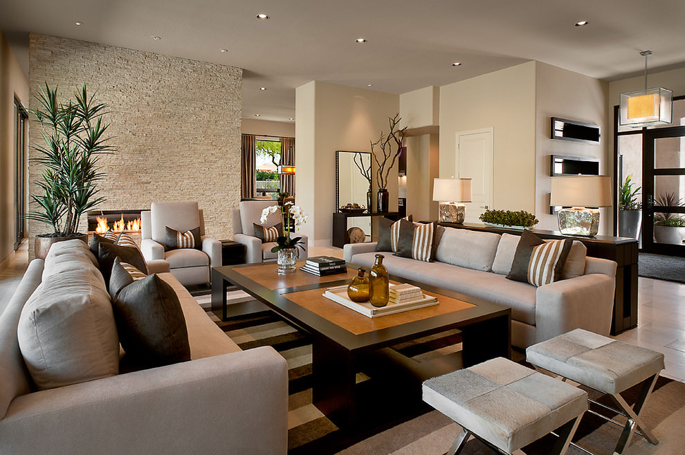 Beautiful Contemporary Narrow Living Room