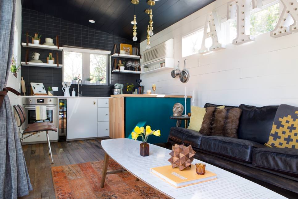 tiny eclectic living room kitchen