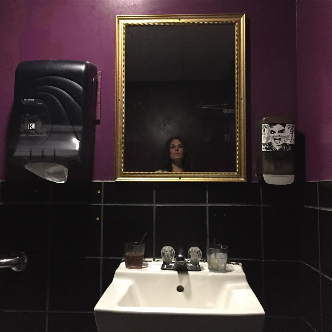 simple purple bathroom