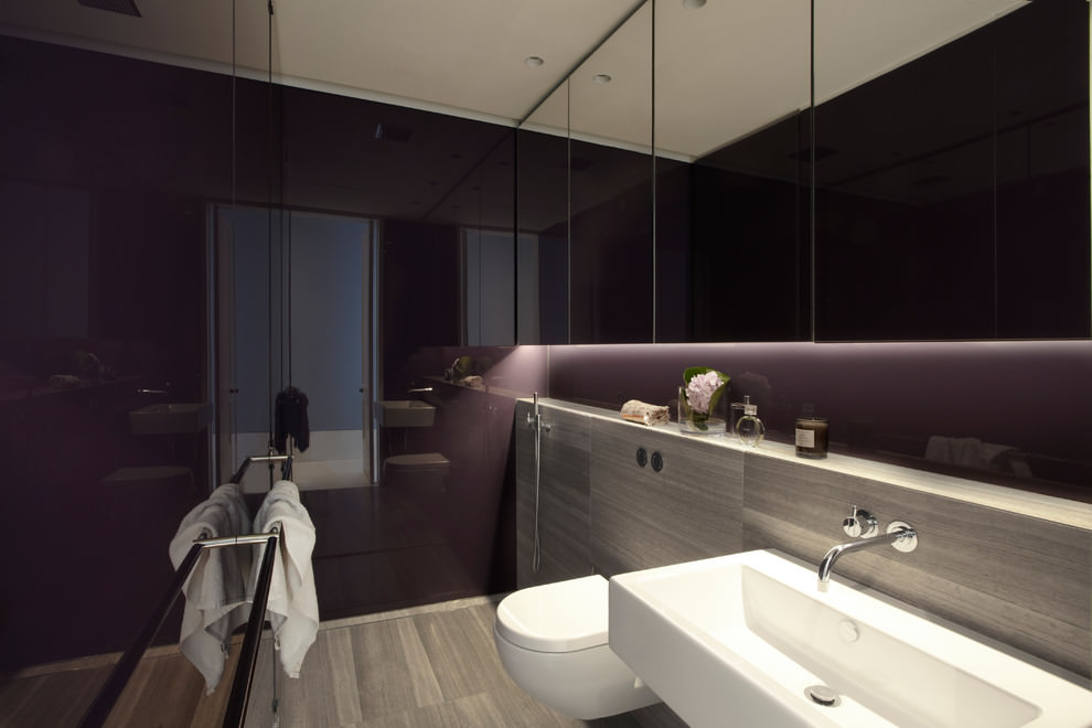 Spa Like Purple Bathroom Design