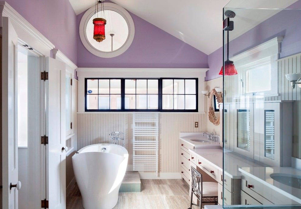 Eclectic Purple Bathroom Design