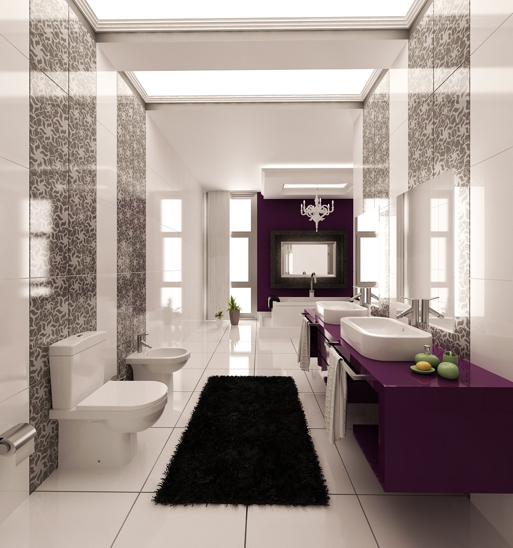 purple beautiful bathroom design1