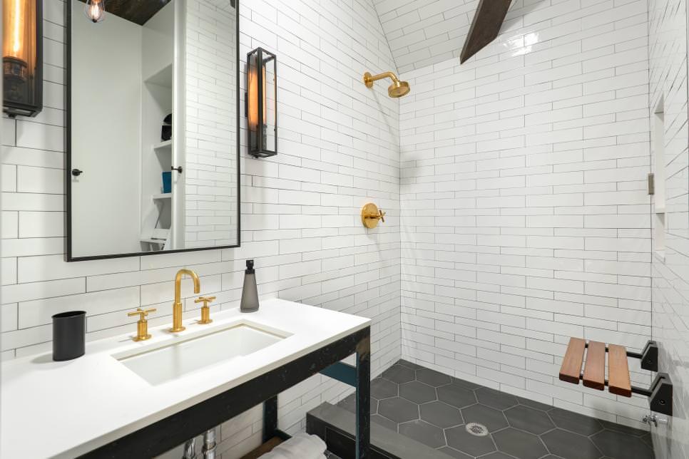 Transitional White Bathroom Design