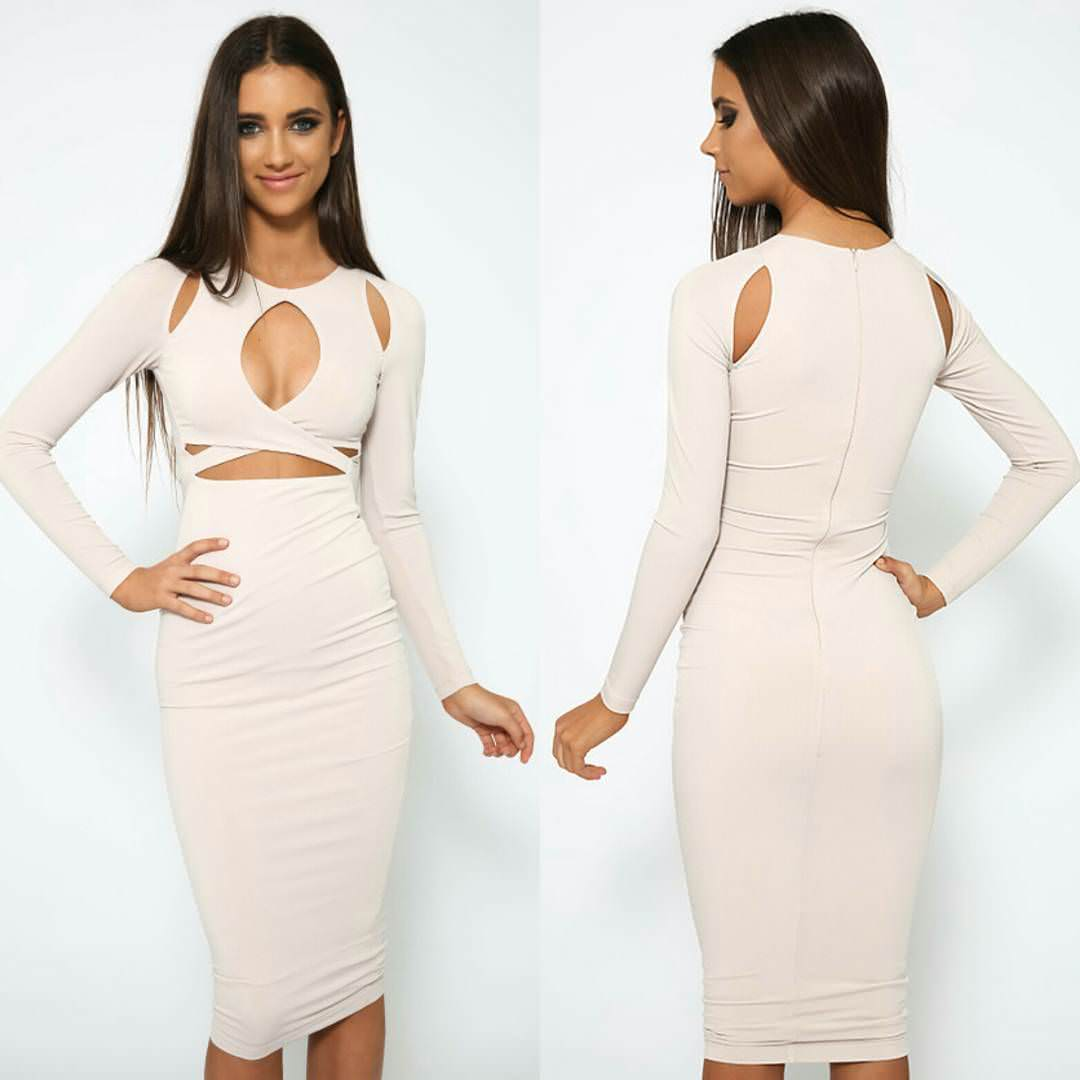 white colored long sleeve dress