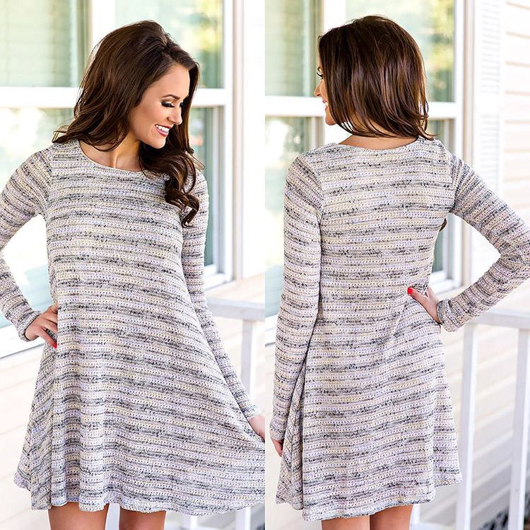Patterned White Sleeve Dress