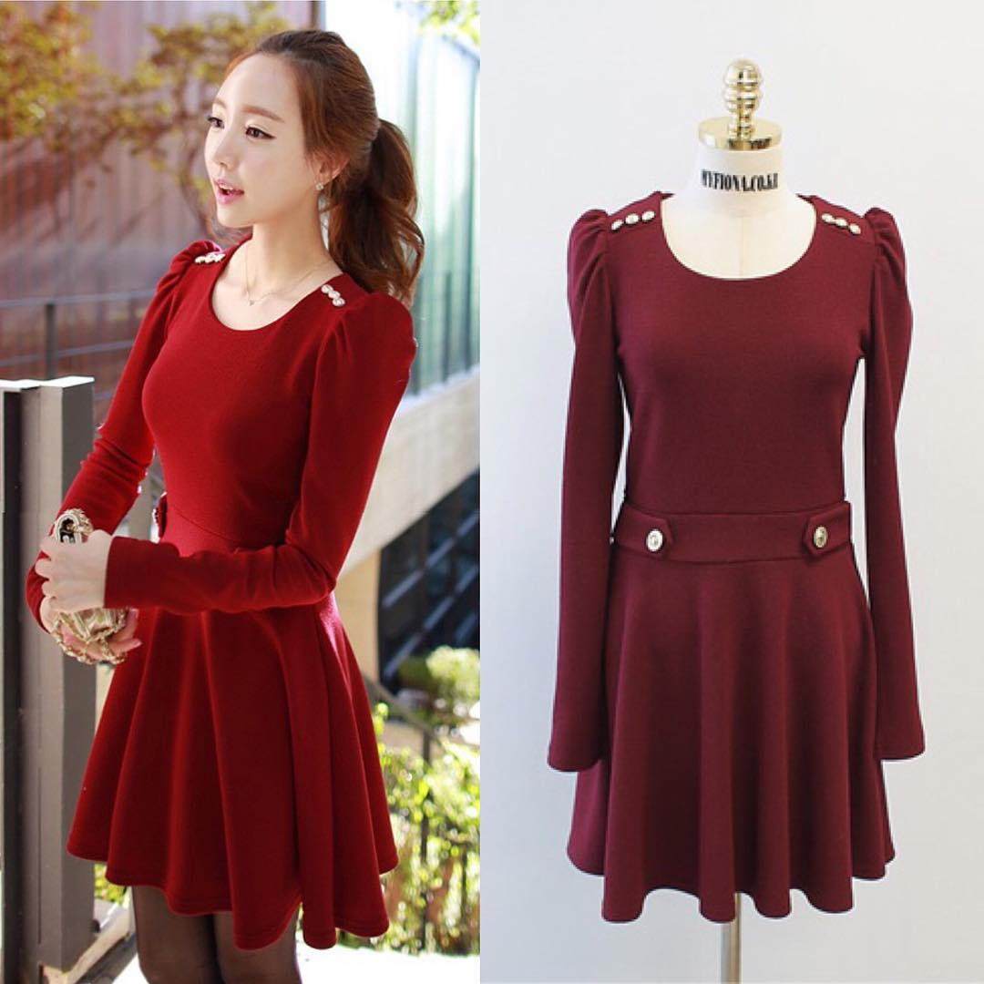 Maroon Colored Dress with Long Sleeves