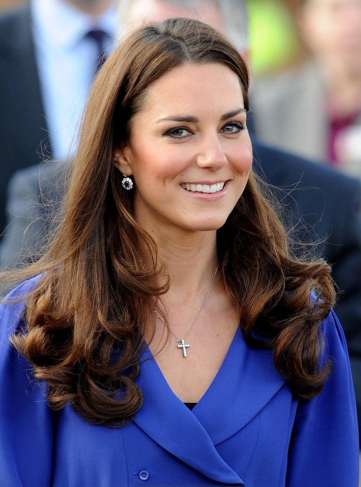 Catherine Duchess Cambridge with bangs and waves