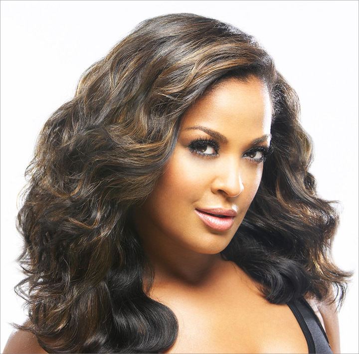 Laila Ali with Large Black waves
